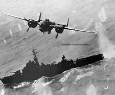 """North American B-25 bomb run on a Japanese Destroyer 8""""x 10"""" WWII Photo 227"""