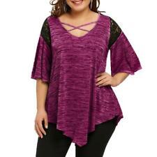 Fashion Women Plus Size Flare Sleeve Asymmetrical Tunic Lace T-shirt Blouse Tops Grey 4xl