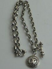 Lion Head Fob & T Bar Fitting Solid Silver Watch Chain With Ruby Eye