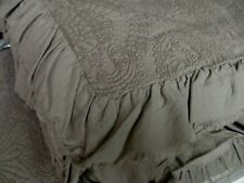 INUP Home Portugal Taupe Tan Matelasse Damask Floral Ruffled Coverlet - Queen