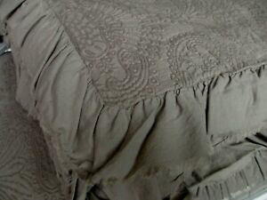 INUP Home Portugal Taupe Tan Matelasse Damask Floral Ruffled Coverlet - King