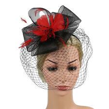 Retro Ladies Flower Fascinators Hat Feather Beads Hair Band Headband Accessory