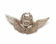 1990's Stamped 925 Sterling Silver HOLLOW CHERUB ANGEL WING PIN BROOCH 10.8g