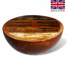 Bowl Shaped Coffee Table Solid Reclaimed Wood with Steel Base Rustic Antique