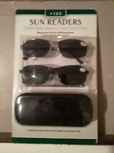 2 pairs of Sunglass readers 1.25 with hard case and microfiber cleaning cloth