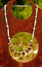 Brown and gray color clay bead    NECKLACE