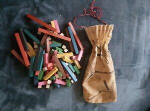 Vintage Cuisenaire Rods In Drawstring Bag