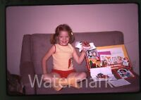 1969 kodachrome photo slide Girl with Snow White and seven dwarfs Sewing set