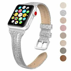 SWEES Leather Band Compatible Apple Watch iWatch 38mm 40mm, Slim Series 4 ,3,2,1