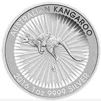 SILVER BULLION DOLLAR  AUSTRALIAN KANGAROO 1oz COIN IN INVESTMENT 2016