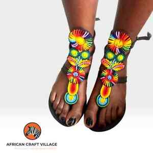 African leather Maasai Hand crafted beaded Sandals- Gladiator