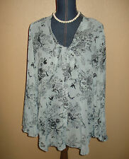 1f477c7dc4d Sunny Leigh Gray Black Floral Sheer Chiffon Batwing Sleeves Neck Ties Top  Size L