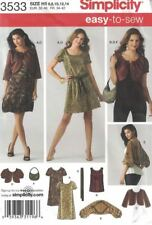 Simplicity Misses Dress Top Jacket Shrug Belt Bag #3533 Size 6-14 New Uncut