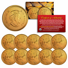 2005 Canadian Caribou Quarter UNC Queen Elizabeth II 24K GOLD Plated - QTY 10