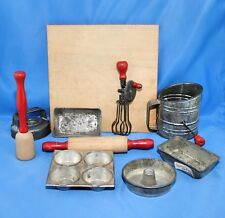 Vintage 1930's Antique Toy Kitchen Bakeware Set with Working Beater Sifter Pans