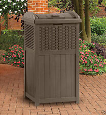 Outdoor Patio Hideaway Resin Wicker Trash Can Garbage Bin Waste Container