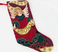 Needlepoint Christmas Stocking Angel Embellished Beaded Joy Red Velvet