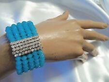 Matte BLUE Aurora Borealis Crystal & Silver/Rhinestone Stretch Bracelet LA2B50