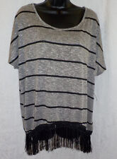 French Laundry Lady Knit Top Size S NWT Multi Stripe Polyester Blend Cap Sleeves