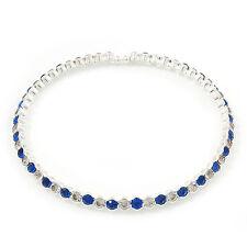 Silver Plated Clear/ Sapphire Blue Coloured Diamante Flex Choker Necklace