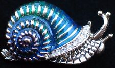 GREEN BLUE RHINESTONE CRAWLING BUG INSECT SLUG SNAIL PIN BROOCH JEWELRY 1.25""