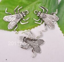 12pcs Tibetan silver charm fly beads pendant fit Jewelry 25mm B3153