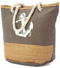 Large Canvas Beach Bag with Soft Rope Handles - Khaki