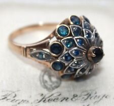 1940s Indian 33 Sapphire 18 ct gold vintage cocktail ring Rajan Nehru size  M