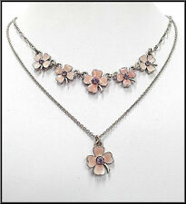 VINTAGE NEW PILGRIM SILVER PLATED NECKLACE SWAROVSKI CRYSTALS ENAMEL FLOWERS
