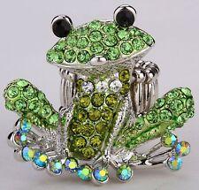 Smiling Frog Stretch Ring Crystal Rhinestone Animal Fashion Jewelry Green RA30