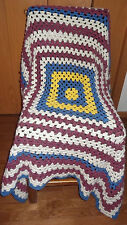 "Handmade Crochet Afghan Throw Blanket Toss Multi Color Squares Size 47"" X 48"""