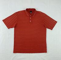 Nike Polo Shirt Men's Large Short Sleeve Red Orange Stripe Golf Button Up