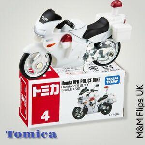 Takara TOMY Tomica # 4 Honda VFR Police Bike White Scale 1/32