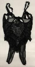 Vintage Black Seduction Frederick's Nylon Lace Open Crotch/Bust Teddy Size L/Xl