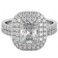 925 Silver Ladies 2 piece Emerald Cut Double Halo Wedding Engagement Ring Set