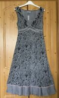 NEW TAGGED M&S PER UNA Grey Black Dress Size 10 L Embellished Lace WEDDING BNWT