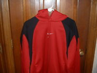Nike Long-Sleeve Hooded Shirt Red with Black Trim Mens L