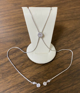 Beautiful Everyday Sterling Silver 925 Cubic Zirconia Lariat Style Necklace
