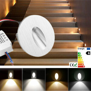 1/10/20x LED Recessed Wall Step Light Stair Lamp Round / Rectangle AC85-245V