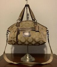 COACH Large Daisy Poppy Khaki Signature Glam Tote Carryall Bag Purse 16296