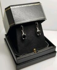 White gold finish black sapphire oval dangle earrings gift boxed free postage