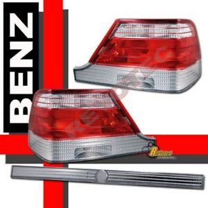 97 98 99 Mercedes Benz S Class W140 S320 S430 S500 S600 Red Clear Tail Lights