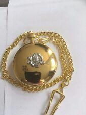 Fiore TG308A realizzato in fine peltro inglese su un Oro Quarzo Orologio Da Tasca Fob