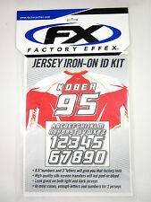 "Factory Effex Jersey Iron-On Iron On ID Kit 7.5"" Numbers 3"" Letters 11-82130 NEW"
