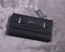 GUESS Women's Trifold Clutch Wallet Black La Vida Logo SLG NEW NWT