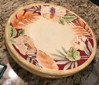 """Home Trends 11"""" Tropical Hibiscus Dinner Plates Set of 3 - Multi Color Bamboo"""
