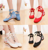 Womens Chinese Folk Embroidered Flat Shoes Handmade Flower Cloth Shoes Lace Up