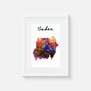 Sudan, watercolour, print, poster, picture, quote, art, home decor