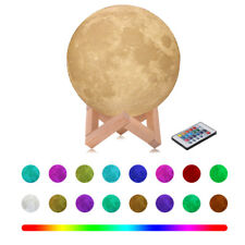 USB 3D Printed RGB 16 Color LED Moon Night Light Table Decor Lamp Remote Control