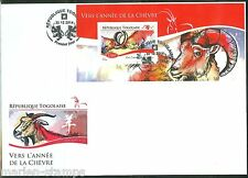TOGO  2014 LUNAR NEW YEAR OF THE GOAT  SOUVENIR SHEET FIRST DAY COVER